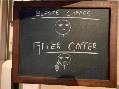 before after coffee face chalkboard