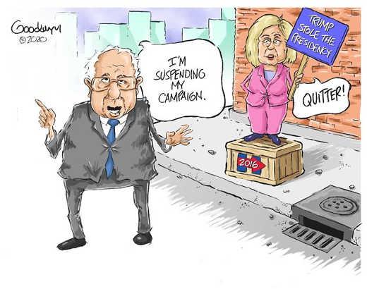 bernie sanders suspending my campaign hillary clinton 2016 quitter trump stole presidency