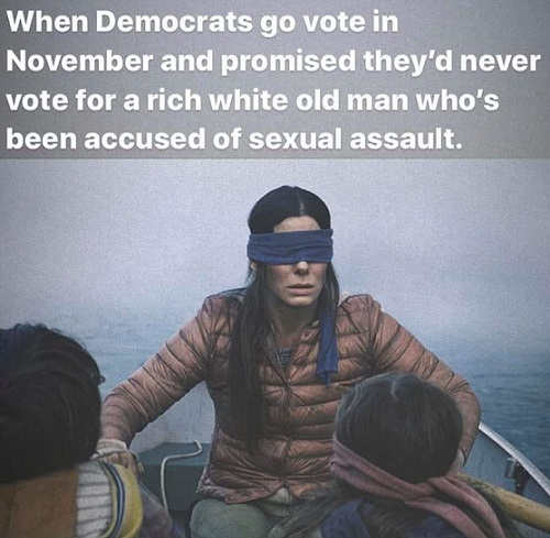 bullock blind fold when democrats vote say never old white man accused of sexual assault