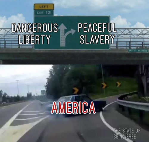 dangerous liberty peaceful slavery road sign america swerving