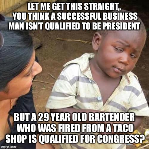 dont think successful business qualified president but bartender fired from taco shop qualified