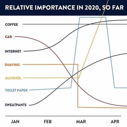 graph relative importance in 2020 so far coffee gas toilet paper alcohol sweat pants internet