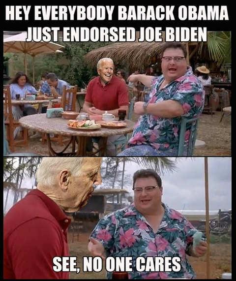hey everybody obama endorsed joe biden see no one cares