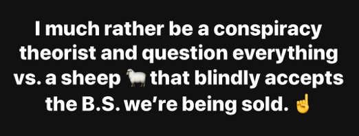 i much rather be conspiracy theorist question everything then sheep blindly accepts bs were being sold corona
