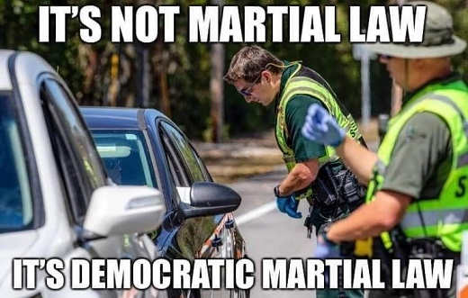 its not martial law its democratic martial law cops enforcing corona quarantine