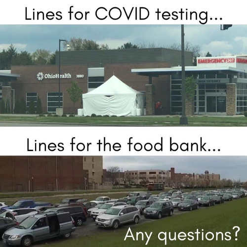 lines for covid testing compared to food bank any questions