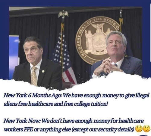 new york cuomo bill deblasio 6 months ago illegals free college health care