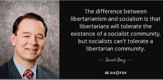 quote difference between libertarianism and socialiam david boaz