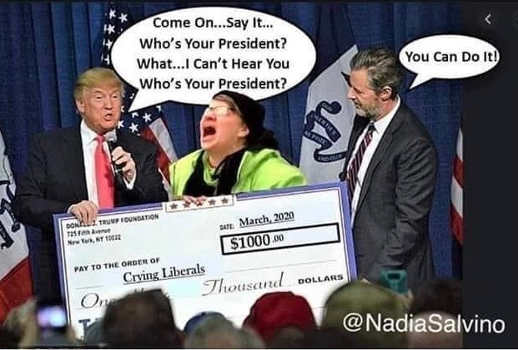 say it im your president trump giving check to liberal