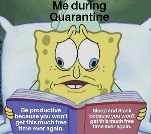 sponge bob be productive sleep slack during quarantine wont have this much free time again