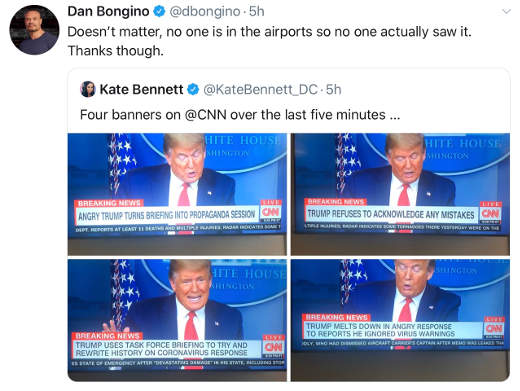tweet bannett bongino trump cnn bias no one watch in airports