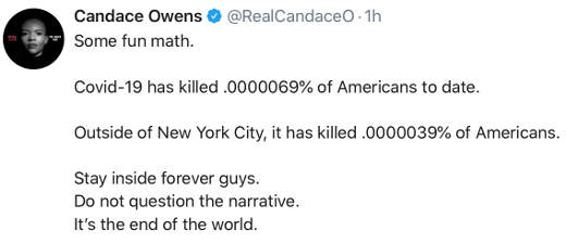tweet candace owens math percentage of americas non new yorkers corona end of world accept narrative