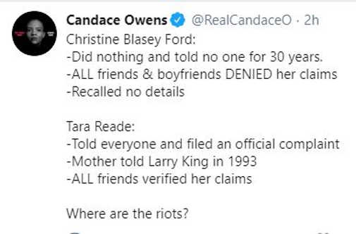 tweet candace owens tara reade vs christine blasey ford where are riots