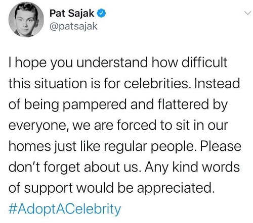 tweet pat sajak understand how difficult for celebrities forced to sit in our homes like regular people