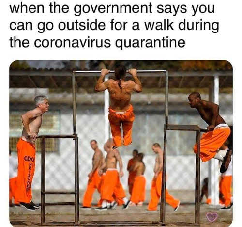when government says can go outside prisoners doing pullups