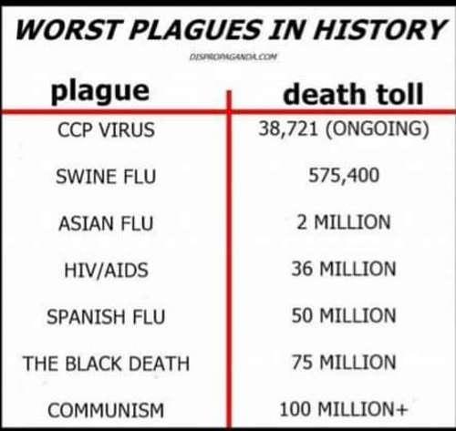 worst plagues in history cov15 swine flu asian aids black death communism 100 million dead