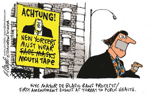 achtung new yorkers must wear mouth tape de blasio first amendment threat to public health