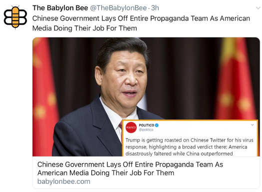 babylon bee chinese government lays off entire propaganda team america media