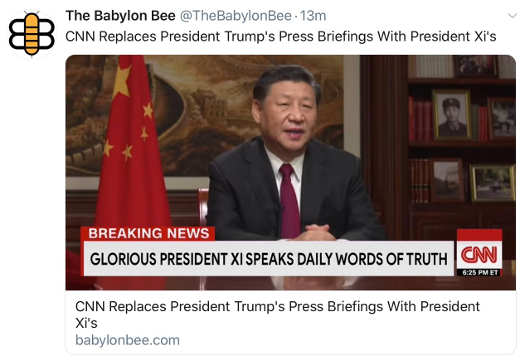 babylon bee cnn replaces trump press briefings with president xis glorious president speaks daily words of truth