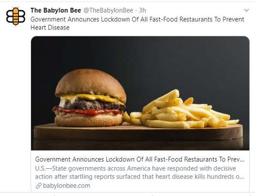 babylon bee government announces lockdown of all fast food restaurants to prevent heart disease