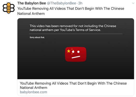 babylon bee youtube removing all videos that dont begin with chinese national anthem