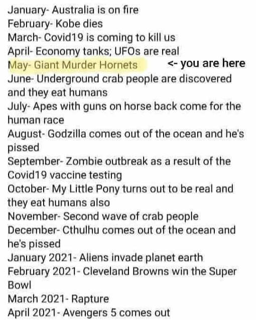 calendar january australia march covid 19 may giant murder hornets september zombie outbreak vaccine testing