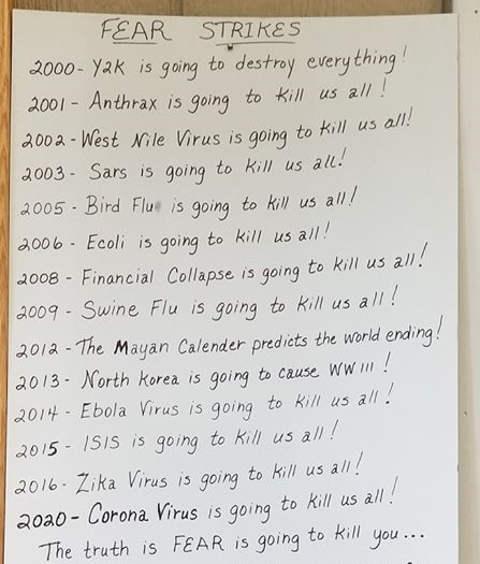 fear strikes timeline y2k anthrax west nile bird flu ecolin corona virus