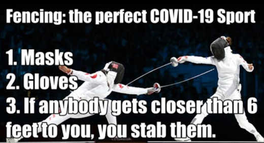 fencing perfect covid 19 sport masks gloves stab someone within 6 feet