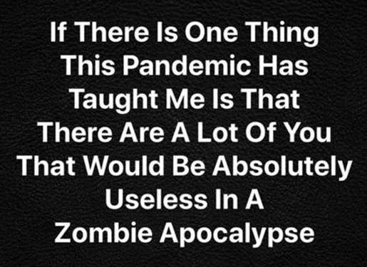 if there one thing pandemic taught lot useless in zombie apocalypse