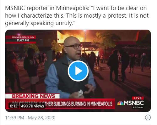 msnbc minnestoa protest not unruly building burns in background