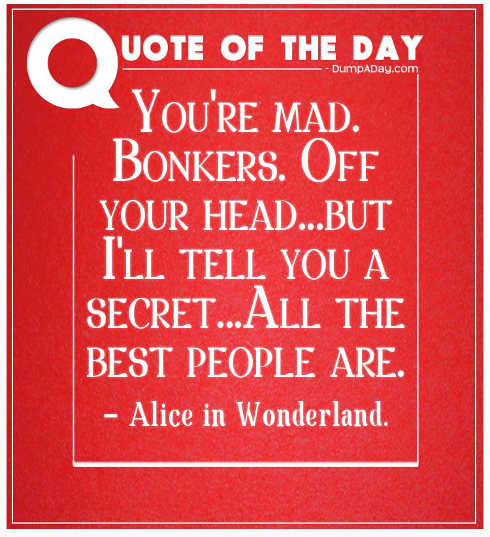 quote youre mad bonkers all best people are alice in wonderland