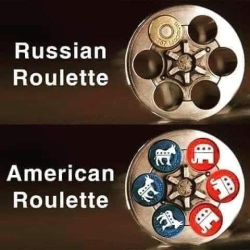 russian roulette american republicans democrats bullets