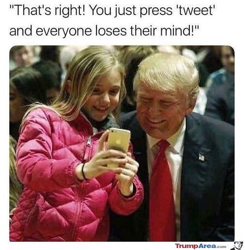trump kid phone just press tweet everyone loses their minds