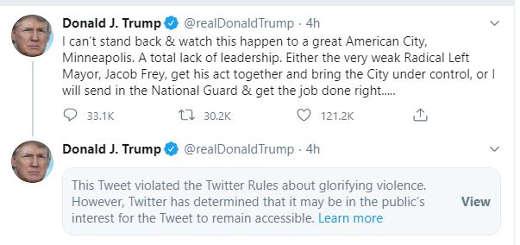 trump tweet minnesota twitter glorifying violence