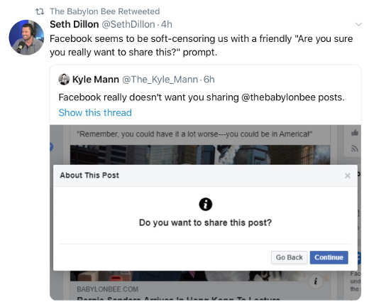 tweet set dillon bablylon bee being censored by facebook