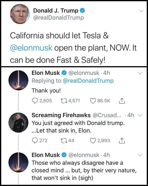tweet trump tesla should be able to open elon musk agree