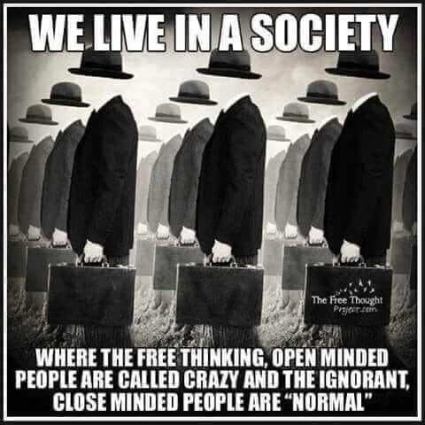 we live in society free thinking open minded called crazy ignorant close minded normal