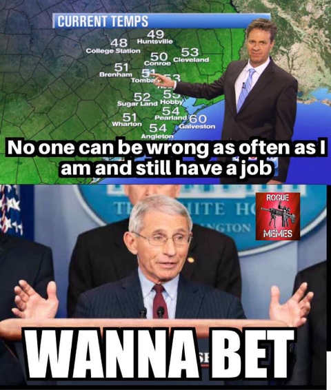 weather man no one can be as wrong as often still have job dr fauci wanna bet