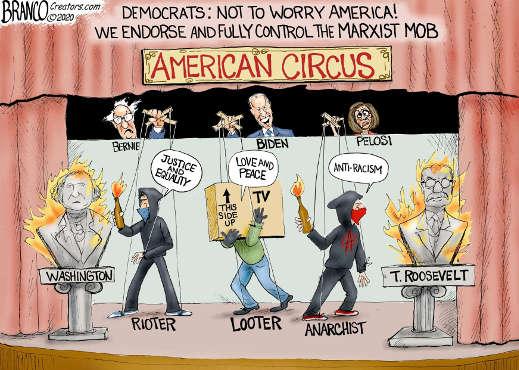 american circus biden pelosi antifa protester looting puppets