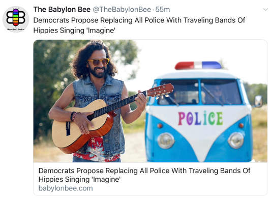 babylon bee democrats replace all police with traveling bands hippies singing imagine