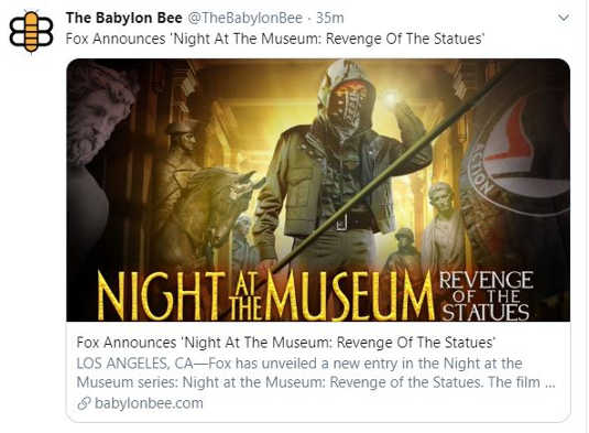 babylon bee fox announces night at the museum statues revenge