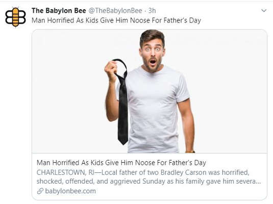 babylon bee man horrified kids give him noose for fathers day tie