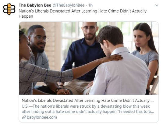 babylon bee nations liberal devasted hate crime didnt actually happen