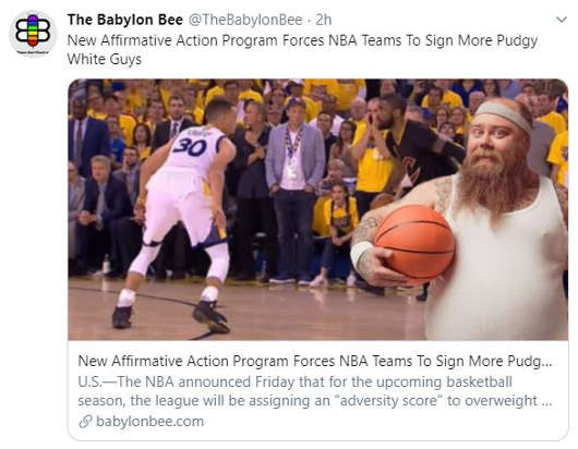 babylon bee new affirmative action program forces nba hire more pudgy white guys