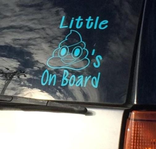 car window little shits on board