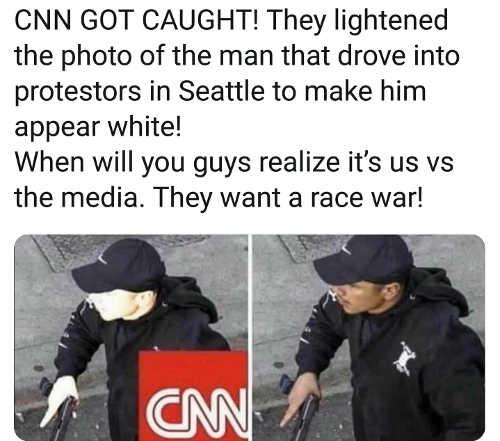 cnn lightens photo man drove into protesters media wants race war