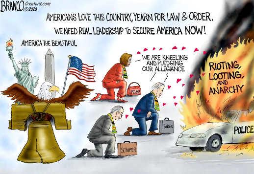 democrats pelosi biden schumer pelosi kneeling to rioting looting anarchy not america