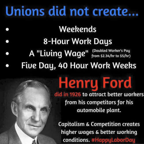 fact unions did not create weekends 40 hr week living wage henry ford did to attrack better workers