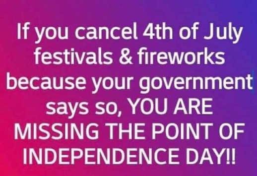 if you cancel 4th of july festivals because government says so missing point of independence day