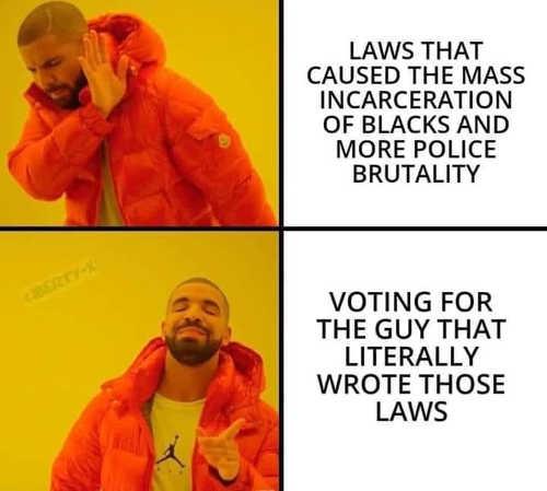 joe biden law mass incarceration blacks police brutality voting for the guy wrote laws